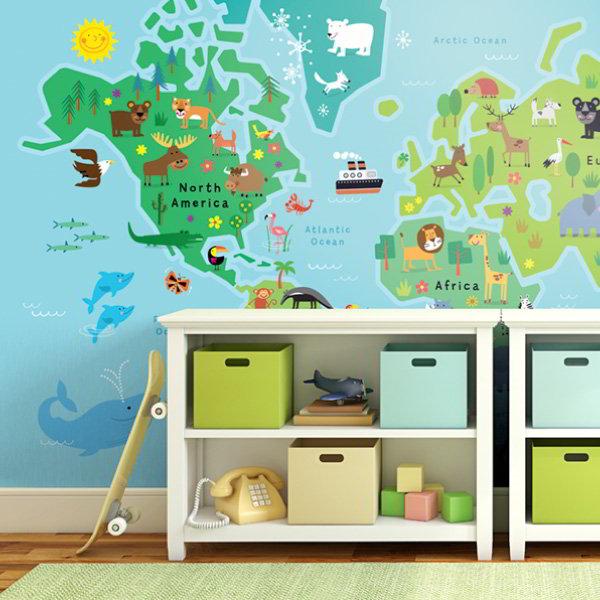fototapeta mapa świata do pokoju dziecka